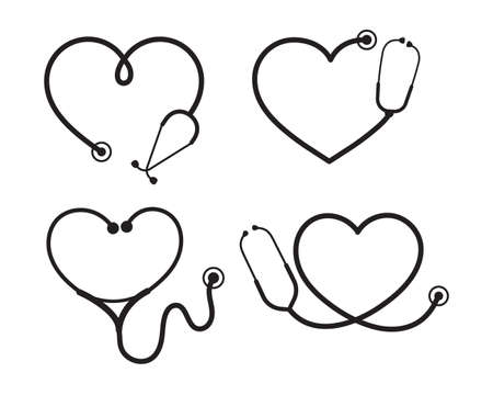 Vector nurse stethoscope silhouette Heart shaped stethoscope line frame Isolated on background.