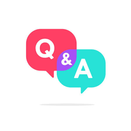 questions and answers. Speech bubbles for overlapping Q and A messages. FAQ ideas to solve problems.