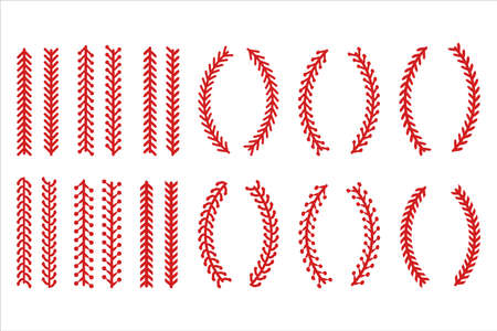 The red stitch or stitching of the baseball Isolated on white background.