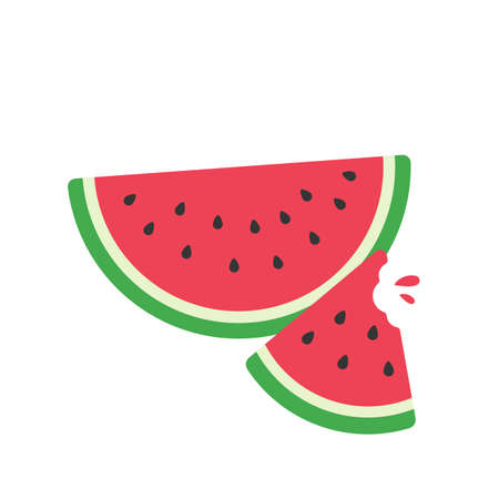 A delicious red watermelon Sweet fruit that is commonly eaten during summer for freshness. Ilustración de vector