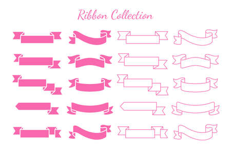 Swaying ribbons for retro text labels Product price tag Isolated on white background