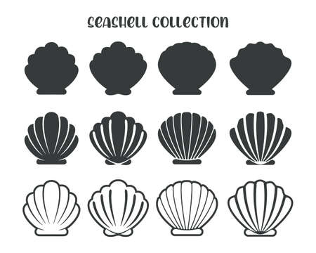 Sea Shell Vector Silhouette Isolated on white background.