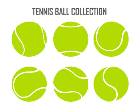 Vector green tennis ball collection Isolated on white background. Ilustración de vector
