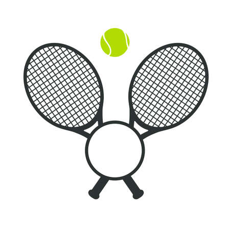 Vector collection of green tennis balls and tennis racket Leave space for adding text.