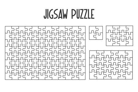 Mockup Jigsaw Puzzle for overlapping puzzles in the game per picture. isolate on white background.