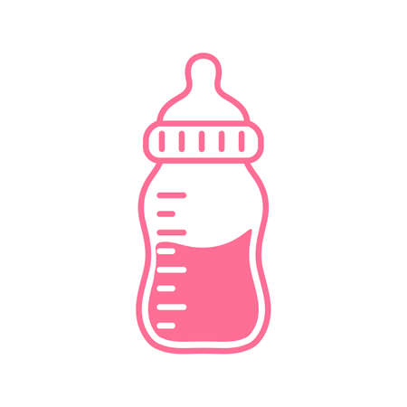 Vector newborn baby plastic water bottle Leave space for adding text. Isolated on background.