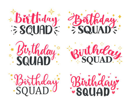 Hand drawn birthday squad calligraphy for women party decoration Friendship quotes. Ilustración de vector