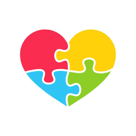 Heart shaped colorful puzzle The concept of children with autism. isolate on background.