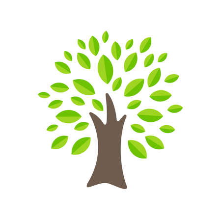 Tree icon simple flat green tree design Economical paper usage ideas To reduce cutting down trees