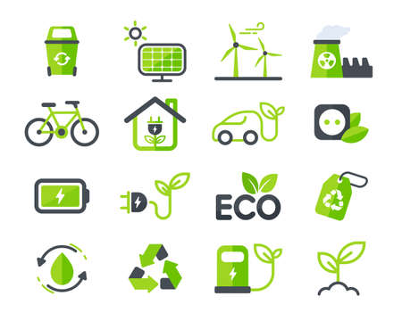 Eco icon. Ecology vector design The concept of caring for the environment by using natural energy.