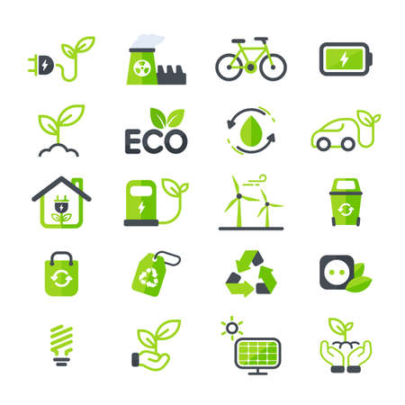 Eco icon. Ecology vector design The concept of caring for the environment by using natural energy. Vetores