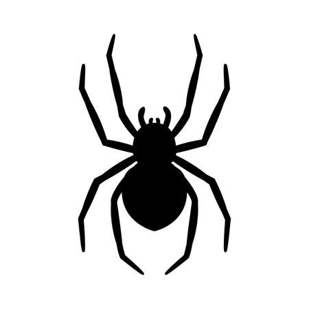 silhouette of a spider hanging from a web Abandoned House Horror Ideas for Halloween Ilustración de vector