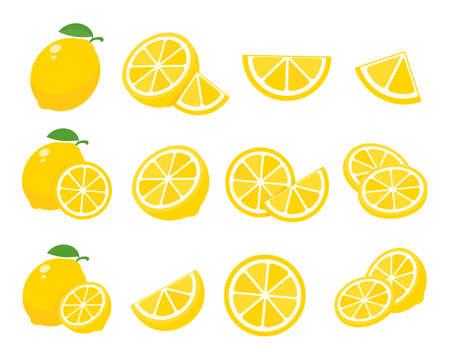 Sour yellow lemons. High vitamin C lemons are cut into slices for summer lemonade. Vettoriali