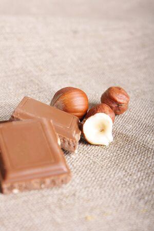 Sweet chocolate, nuts and coffee (beautifull still-life) Stock Photo - 6458911