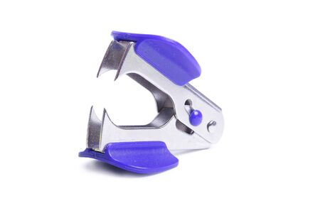 blue stapler on white background (close up) Stock Photo - 6586632