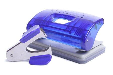 blue hole puncher and antistapler on white background Stock Photo - 6586430
