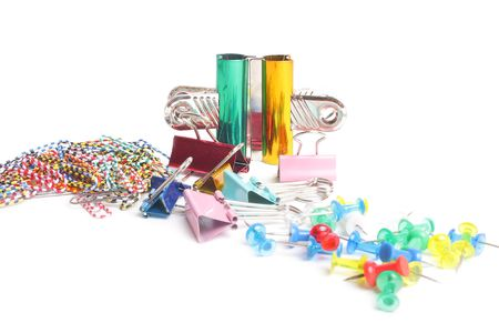 many colorful metal clip on white background Stock Photo - 6689927