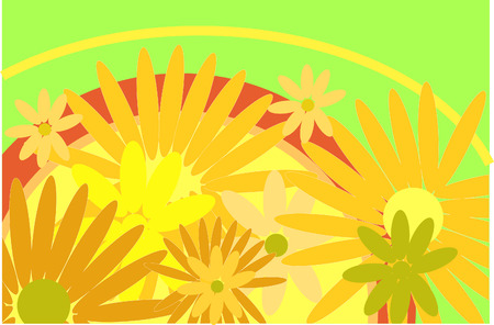 pinstripes: colour pattern on white background (flowers and pinstripes) Illustration