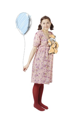 Young beautiful girl on white background with drawing balloons (isolated) photo