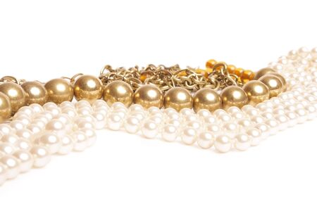 chaplet: metallic and pearl chaplet on white background