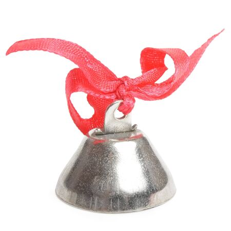 metallic bell with red ribbon on white background Stock Photo - 7444356