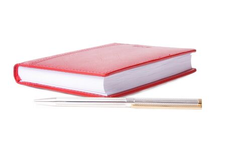 pen and red notepad on white background Stock Photo - 7444358