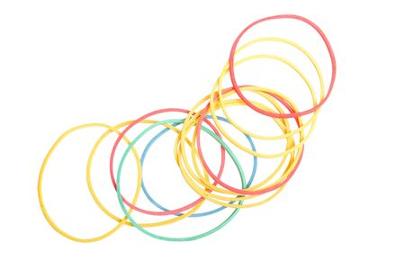 multi colored rubber band on white background photo