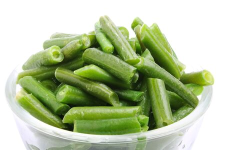 green bean: long bean in bowl on white background
