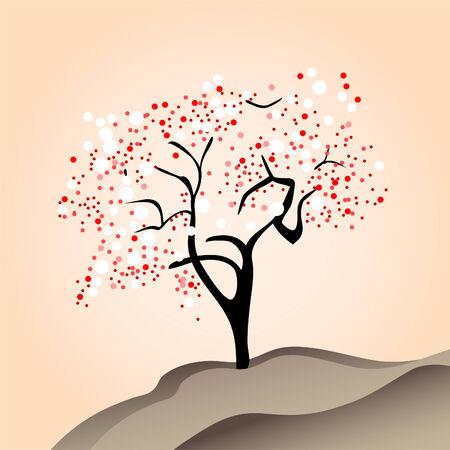 beauty cherry tree on pink background (  illustration) Vector
