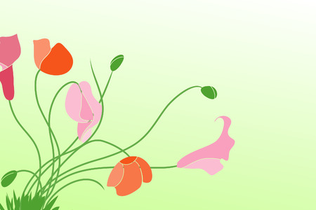 pinstripes: Beautiful  flowers on green background (illustration) Illustration