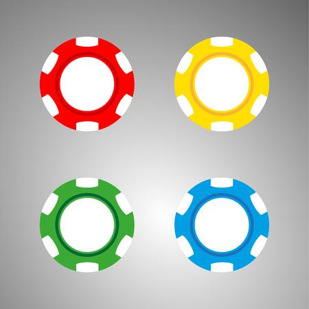 gambling chip: Fichas de ilustraci�n rojo de Casino en gris