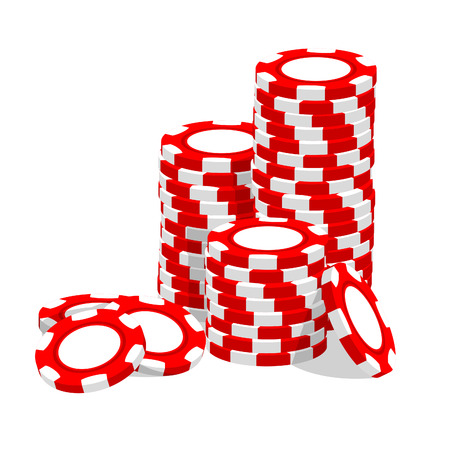 gambling chip: Fichas de Casino ilustraci�n rojo sobre fondo blanco