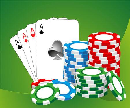 casino dealer: Casino  illustration (blue, green, red chips)