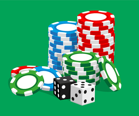 gambling chip: Casino   illustration red chips on green