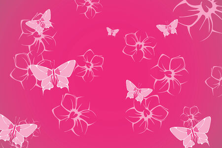 Beautyfull Butterfly and flower on pink background Vector