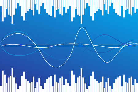 sound wave: Abstract blue on blue background ( illustration)
