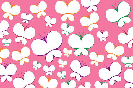 Beautiful Butterfly on pink background (  illustration) Vector