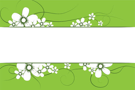 Beautiful flowers on green background (illustration) Stock Vector - 7793462