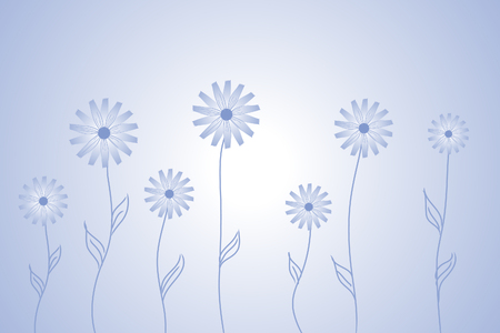 pinstripes: Beautiful   flowers on blue background (illustration)