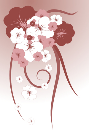 Bellas flores sobre fondo marrón (ilustración)