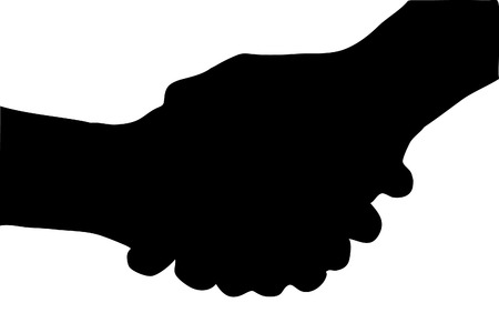 black silhouette of gesturing handshake (close up) Vector
