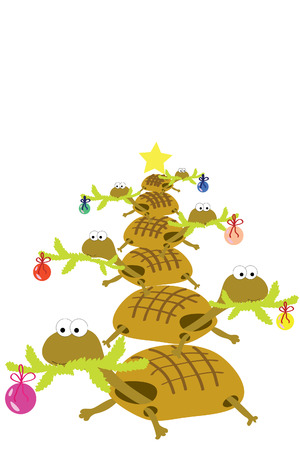 turtle each other with decorated fir branch Vector