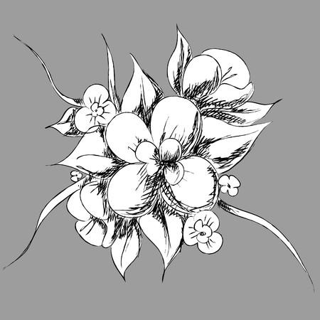 Beautiful flowers on light gray background (illustration) Vector