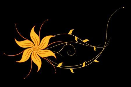Beautiful  flowers on black background (illustration) Stock Vector - 7793067