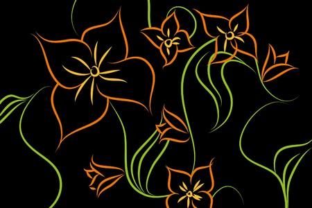 Beautiful flowers on black background (illustration)