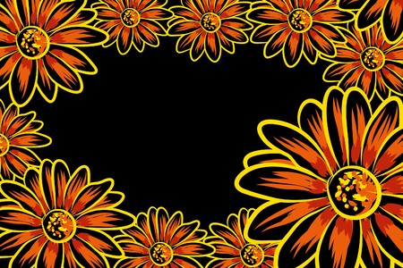 pinstripes: Beautiful  flowers on black background (illustration) Illustration