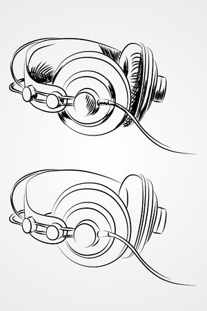 Headphones on white background (illustration) Vector