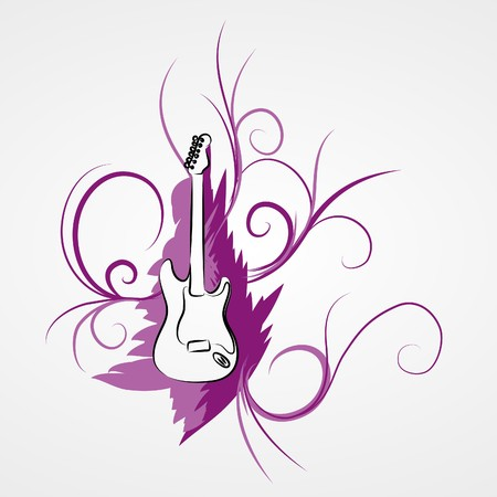 pinstripes: Electric guitar and violet pinstripes (  illustration)