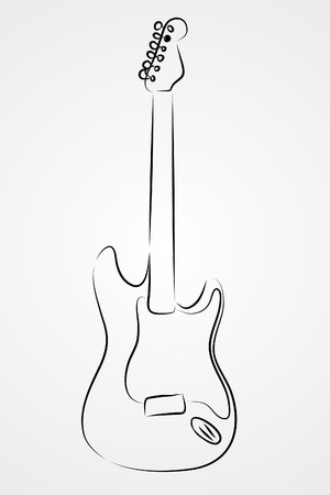 pop musician: Electric guitar on white background (  illustration)