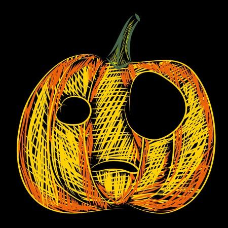 Halloween   illustration (Pumpkin on black) Stock Vector - 7792788